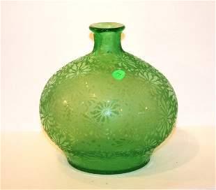 Art Deco Acid Etched Glass Vase