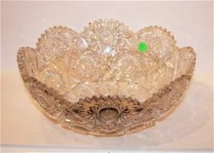 American Brillant Cut Glass Punch Bowl