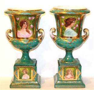 Pair of Carlsbad Porcelain Urns