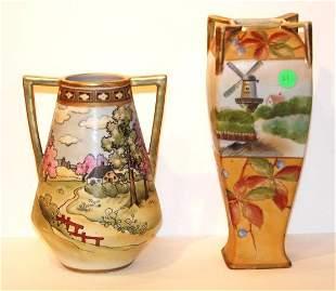 Two(2) Nippon Porcelain Vases