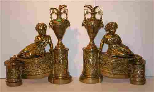 Pair of Ornate French Bronze Chenets