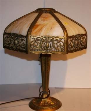Eight(8) Panel Slag Glass Overlay Lamp