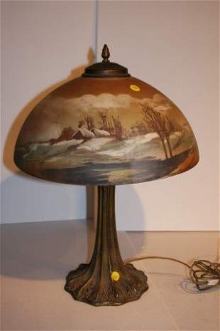Victorian Painted Glass Scenic Lamp