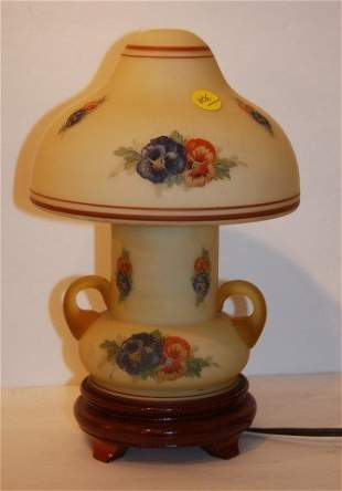Painted Satin Glass Lamp