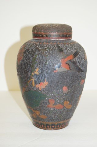 Chinese Porcelain and Cloisonne Covered Vase