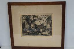 George Hand Wright Original American Etching Signed
