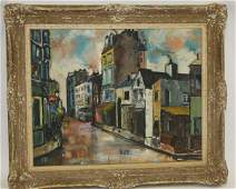 20th C. French; Oil Street Scene