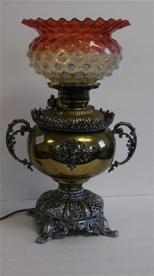 Victorian Brass and Glass Banquet Lamp