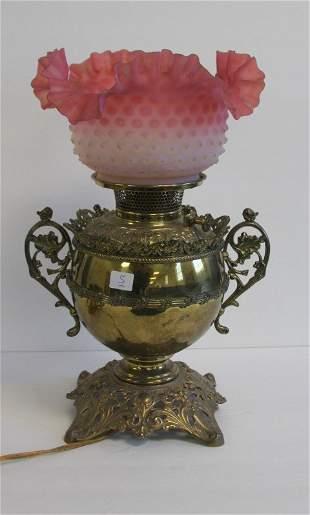 Bradley & Hubbard Brass and Glass Banquet Lamp