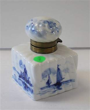 Victorian Delft Porcelain Inkwell