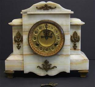Victorian Bronzed and Onyx Mantle Clock