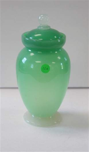 Early Jadeite Glass Covered Jar