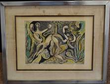 20thC. Modernist Colored Etching Signed