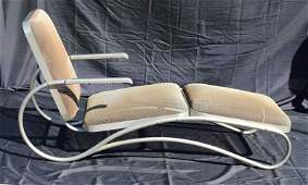 Walter Lamb Mid Century Steel and Mesh Chaise Lounge