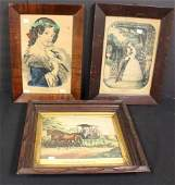 Three3 Framed Currier and Ives Prints