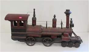 20thC Carved Wood Locomotive