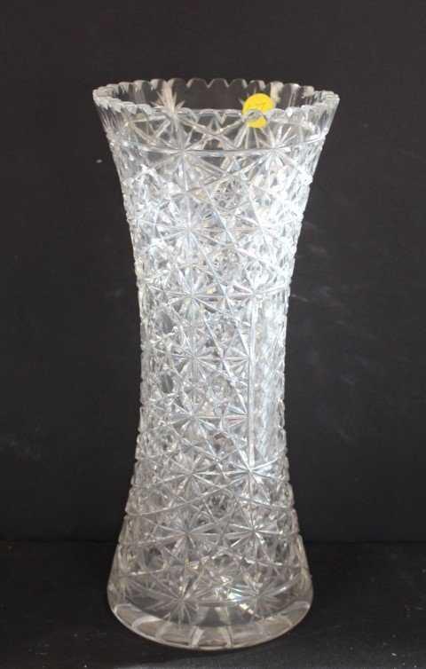 American Brilliant Tall Cut Glass Vase