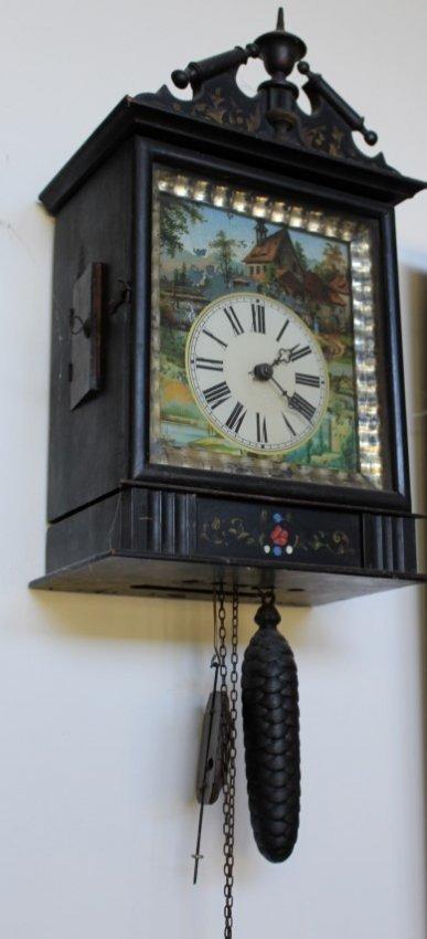 German Wood Cased Clock