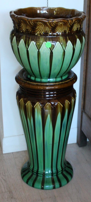 Majolica Pottery Jardiniere and Pedestal