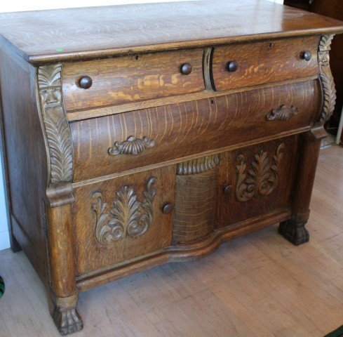 Fancy Victorian Carved Oak Sideboard
