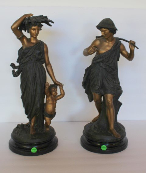 Pair of French Bronzed Figures