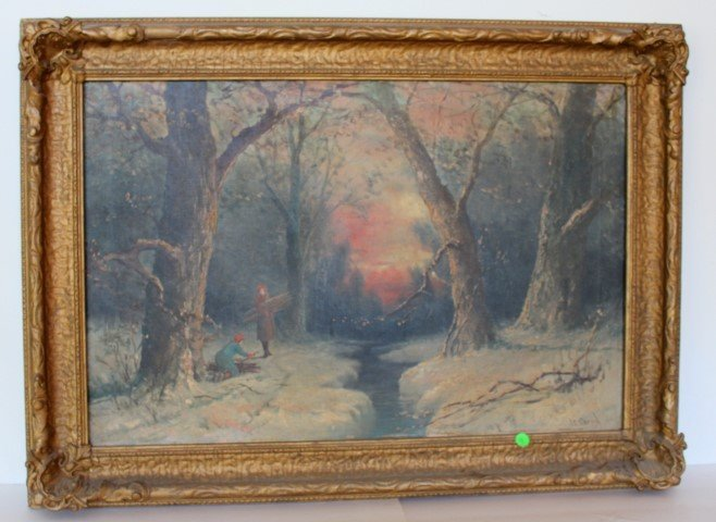 J.C. Carrol; American Oil Painting Signed