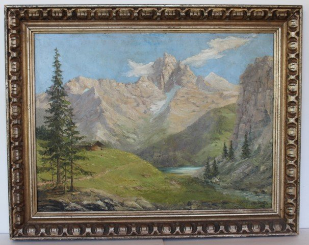 Th. Pindl; German Oil Painting Signed