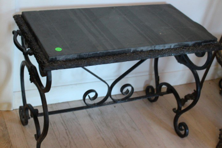 Art Deco Wrought Iron and Marble Bench