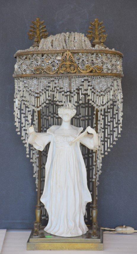 Art Nouveau Bronzed and Porcelain Figural Lamp