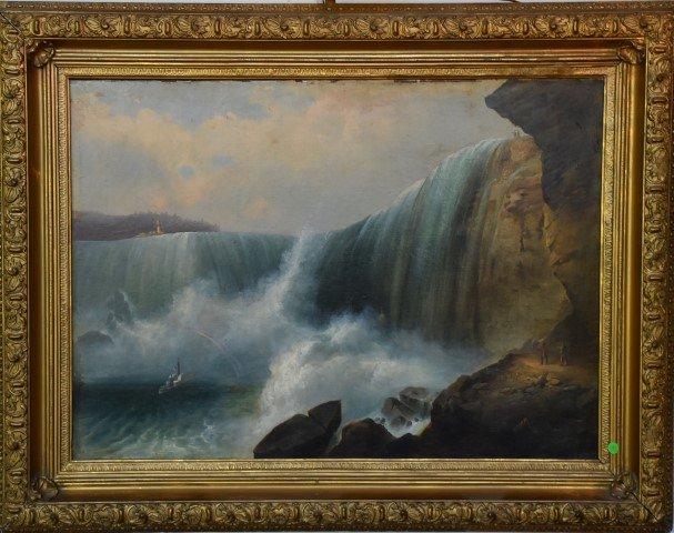 Important 19th C. American School; Oil Niagara Falls