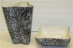 2 pc. Kenwood Porcelain Mid Century Vase Bowl