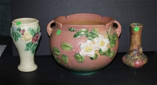3 pcs Roseville Pottery as is