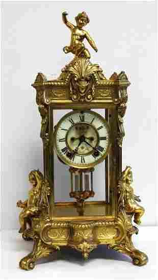 Ansonia Peerless Crystal Regulator Clock 3 Putti