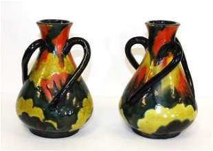 Pair of Multi Glazed Pottery Vases