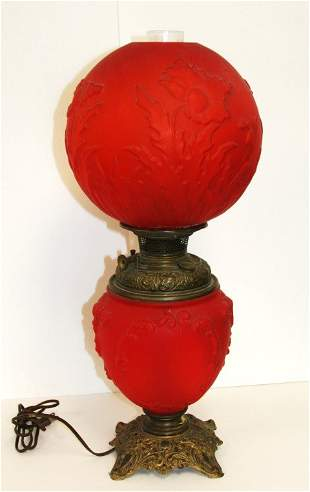 Bradley & Hubbard Red Satin Gone-With-The-Wind Lamp