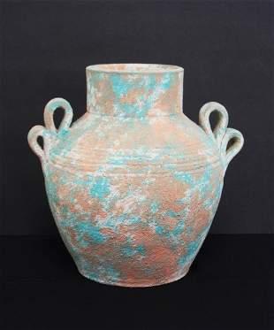 Ceramic Pre Columbian Style Vase Double Handle