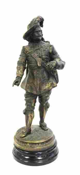 Circa 1900 Spelter Bronzed Cavelier Figure