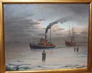 Albert Nemethy, o/c, NY Harbor Winter Tugboat