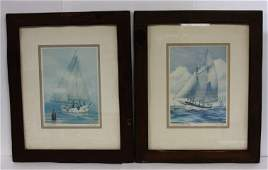 John Moll, Pair Sailboat Lithographs, signed & titled