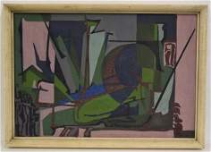 Max Hurley; Pair of 20thC. Modernist Oil Paintings