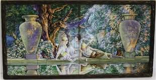 M.J. Fischer; Framed Hand Painted Tile Signed