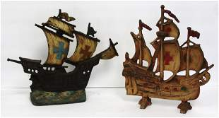 Two(2) Cast Iron Viking Ship Doorstops