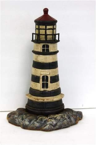 Painted Cast Iron Lighthouse Doorstop