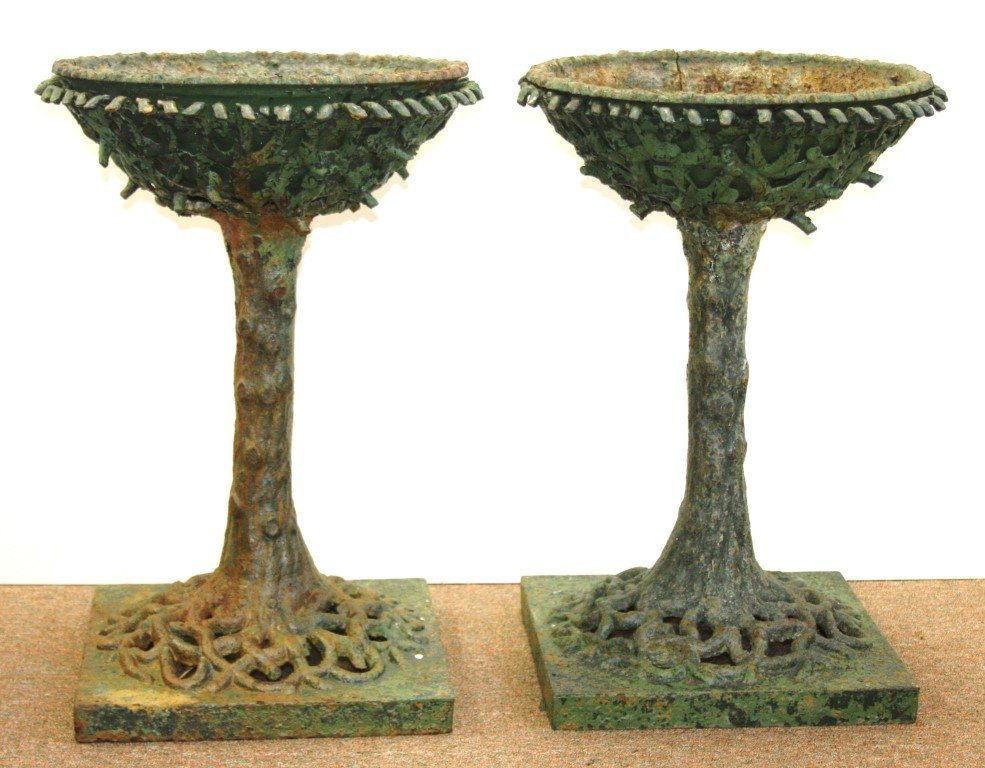 Gustave Eiffel; Pair of 19thC. Cast Iron Plant Stands