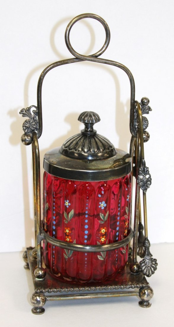 Victorian Cranberry Glass and Silverplate Pickle Caster