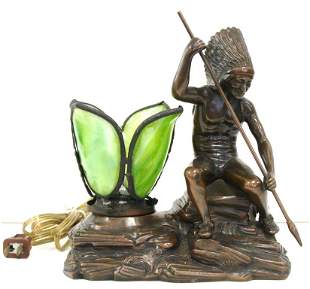 Bronzed Leaded Indian Figural Lamp