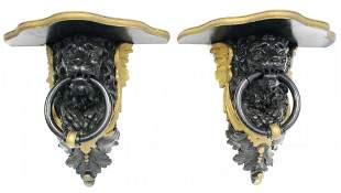 Pair of Lion's Head Wood Wall Brackets