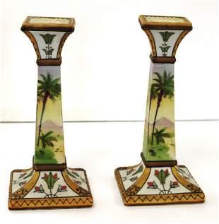 Pair of Nippon Porcelain Candlesticks
