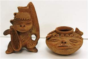 Two(2) Pre-Columbian Pottery Figural Vessels