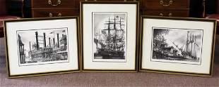 Three(3) Nautical Engravings Signed